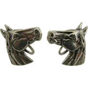 SALE Horse Head Sterling Set of Earrings Screw Backs