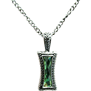 "SALE Necklace 26"" Chain Green Faceted Strass Pendant"