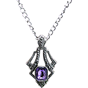 REDUCED Necklace with Marcasite Pendant Inset Amethyst Strass 130 Pieces Of Jewelry To Choose