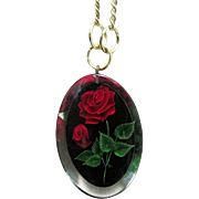 "SALE Necklace with Embedded Roses in Lucite Pendant on 16"" Chain"