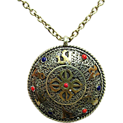 "SALE Necklace with Oriental Medallion Pendant on 24"" Chain"