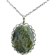 "SALE Necklace with Moss Agate Pendant 18"" Chain"