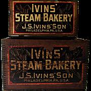 SOLD IVINS Steam Bakery Wood Advertising Box