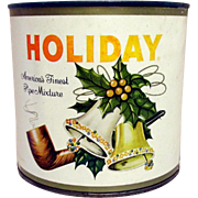 SALE Holiday Pipe Tobacco Advertising Tin Unopened with Paper Label