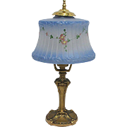 SALE Antique  Blue Frosted & Painted  Glass Table Lamp