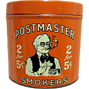 SALE Postmaster Smokers Advertising Tobacco Tin