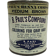 SALE B. Pauls Compound Henna Hair Care  Unopened Advertising Tin