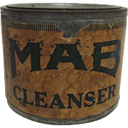 SALE MAB Cleanser Advertising Tin with Original Contents