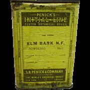 SALE Drugstore or Pharmacy Advertising Container  Penicks ELM BARK  Botanical