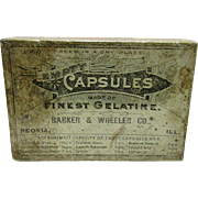 SALE Barker & Wheeler Co. Box of Empty Capsules Drugstore Box