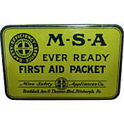 SALE MSA Ever Ready First Aid Packet  Advertising Tin with Contents