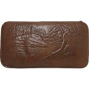 SALE Embossed Leather Fly Fishing Wallet with Flies