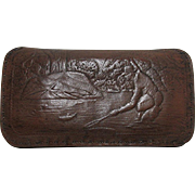 SALE Leather Fly Wallet with Embossed Fishing Scene