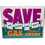SALE Appliance Store Advertising Sign for Gas Clothes Dryer Mint