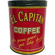 SALE El Capitan Coffee Advertising Tin Lancaster Pa.