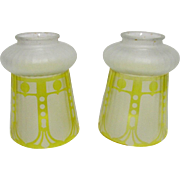 SALE Glass Light Shades Matching Pair Frosted and Ribbed