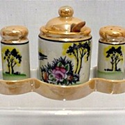 SALE Condiment Set with Tray Lusterware Porcelain $45