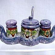 SALE Lusterware Condiment Set Hand Painted in Swan Tray