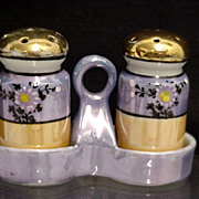 SALE Lusterware 3 Piece Salt and Pepper Set in Stand