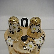 SALE Lusterware Porcelain Condiment Set Complete