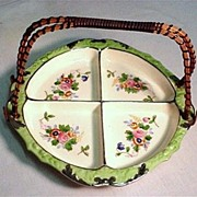 SALE Porcelain Serving Dish Divided with Bamboo Handle