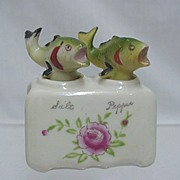 SALE Bass Fish Nodder Salt and Pepper Shaker Set  No Damage