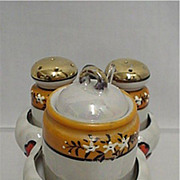 SALE Luster Ware Porcelain Condiment Set