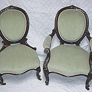 SALE Victorian Chairs Matching Pair of Antique Ladies and Gents