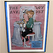 SALE Devil May Care 1942 Framed Saturday Evening Post Cover