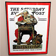 SALE Santa Reading His Mail Christmas 1935 Framed Saturday Evening Post Cover