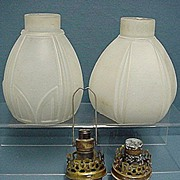SALE Gaslight Lamp Shades Matching Glass Pair