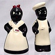 SOLD Salt and Pepper Set Black Chef Shakers