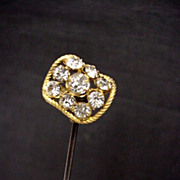 "SALE Hatpin Gold Gilt 10 1/2"" long with Brilliants  $100"
