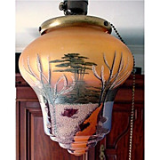 SALE Antique Hand Painted Ceiling Drop Light Glass Shade Fixture   $295