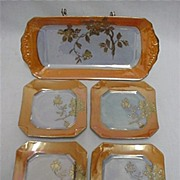REDUCED Lusterware Porcelain Service for 4 Complete Art Deco Set