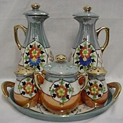 REDUCED Cruet or Condiment Set Takito Porcelain Complete Set Oil, Vinegar, Salt,Pepper, Mustar