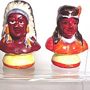 REDUCED American Indian Salt and Pepper Set Busts of Indian Chief and Brave Shakers