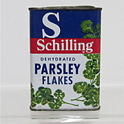 SALE Spice Tin Parsley Flakes Schilling Brand with Contents