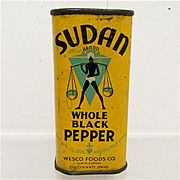 SALE Advertising Spice Tin Sudan Whole Black Pepper 1931