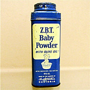 SALE Advertising Tin For ZBT Baby Powder  4 1/2 ounce Size 50% OFF