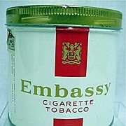 REDUCED Embassy Cylindrical Advertising Tobacco Tin