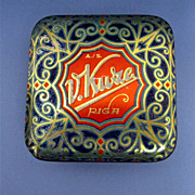 SALE Candy Tin Art Nouveau and Gold Leaf Decoration
