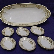SALE Noritake Celery Set White and Gold Series Master Dish and Six Salts