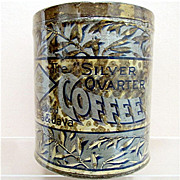 SOLD Silver Quarter Coffee Advertising tin
