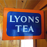 SALE Lyons Tea Porcelain Sign Double Sided