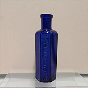 "SOLD Cobalt Poison Bottle 4 3/8"" tall with Ribbing"