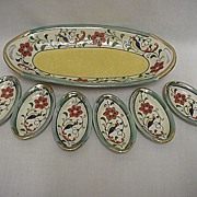 SALE Celery Set Luster Ware Master Dish and Six Salts Matching