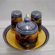 SALE Condiment Set $39 Lusterware with Hand Painted Scene