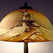SALE Antique Table Lamp by Pittsburgh Winter Scenic Obverse Painted Scenic Shade