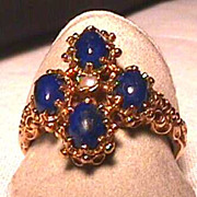 SALE Lapis and Pearl Ring Size 6 1/2